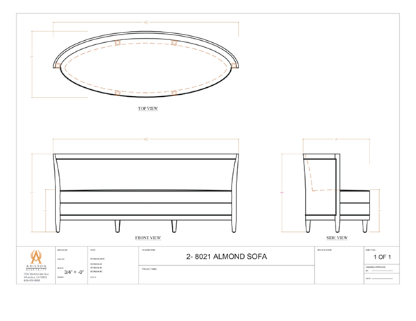 Download Almond Sofa CAD Drawing Image