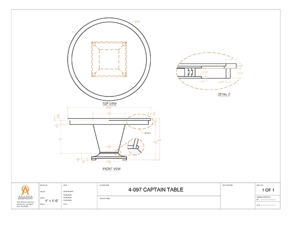 Download Captain Focal Table CAD Drawing Image