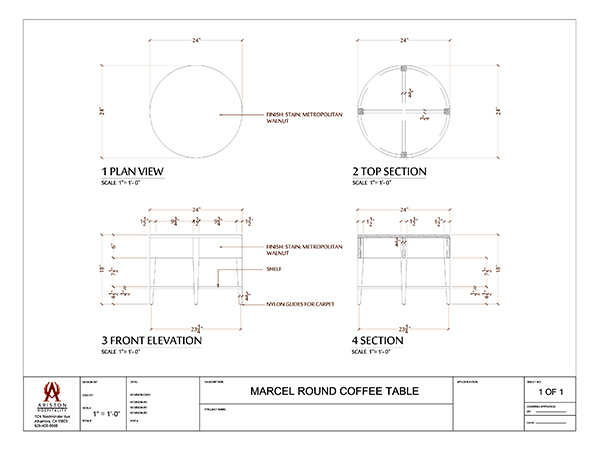 Download Marcel Coffee Table CAD Drawing Image