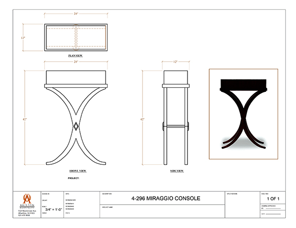 Download Miraggio Console Table CAD Drawing Image