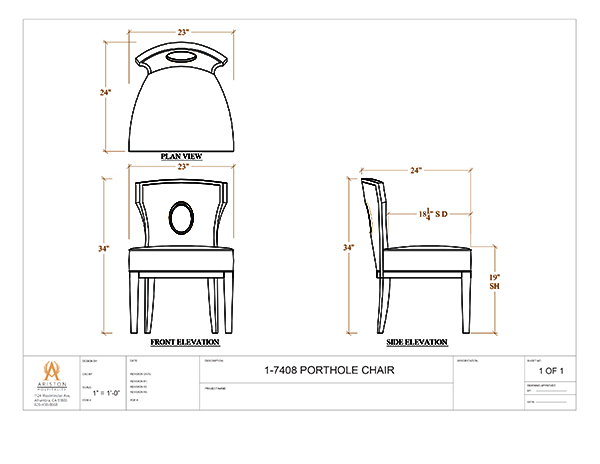 Download Porthole Side Chair CAD Drawing Image