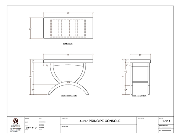 Download Principe Console Table CAD Drawing Image