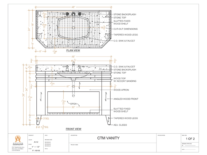 Vanity Cad Drawing