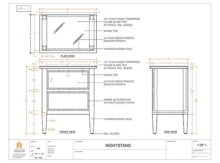 Nightstand CAD Drawing
