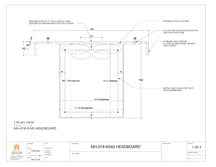 King Headboard CAD Drawing